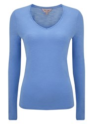Phase Eight Slub V Neck Tee Bright Blue