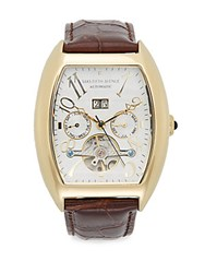Saks Fifth Avenue Curved Gold Plated Stainless Steel Automatic Strap Watch Brown Gold