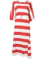 Bassike Belted Striped Midi Dress Red