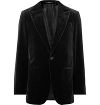 Ermenegildo Zegna Black Cotton Velvet Blazer Black