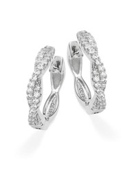 Crislu Cubic Zirconia And Sterling Silver Twist Hoop Earrings 0.75 In