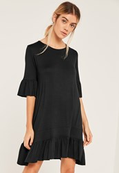 Missguided Black Frill Hem And Sleeve Swing Dress
