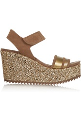 Pedro Garcia Daila Glitter Finished Suede Wedge Sandals