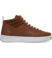 Kg By Kurt Geiger Phoebe High Top Trainers Tan