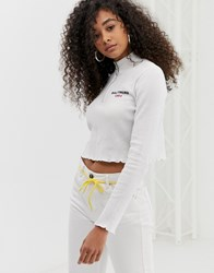 Daisy Street Long Sleeve Top With Zip Neck In Waffle White