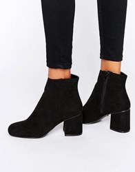 Oasis Faux Suede Heeled Ankle Boots Black