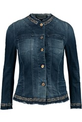 7 For All Mankind Studded Denim Jacket Blue