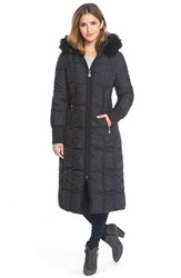 Women's T Tahari 'Elizabeth' Faux Fur Trim Hooded Long Down Coat