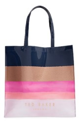 Ted Baker London Marina Mosaic Stripe Large Icon Tote Blue Navy