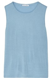 Oscar De La Renta Cashmere And Silk Blend Tank Blue