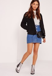 Missguided Shearling Bomber Jacket Black