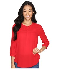 Nydj Petite Georgette Blouse Sweet Strawberry Women's Blouse Red