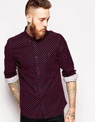 Asos Cord Shirt In Long Sleeve With Polka Dot Navy