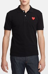 Comme Des Garcons Men's 'Play' Pique Polo With Heart Applique