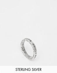 Unif Helter Skelter White Bronze Spacer Thick Ring Silver