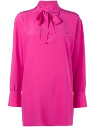 Valentino High Neck Blouse Pink And Purple