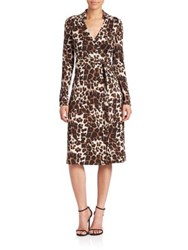 Diane Von Furstenberg Cybil Leopard Print Wrap Dress Snow Cheetah Simple
