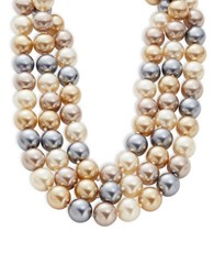 Kenneth Jay Lane Tiered Faux Pearl Statement Necklace Grey