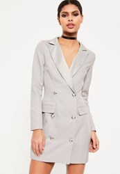Missguided Grey Long Sleeve Tuxedo Dress
