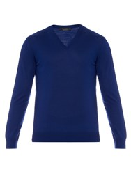 Ermenegildo Zegna Lightweight Wool Knit V Neck Sweater