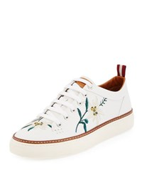 Bally Hernando Men's Floral Embroidered Leather Low Top Sneaker White