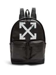 Off White Brushed Arrows Print Leather Backpack Black Multi