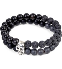 Nialaya Skull Beaded Silver And Onyx Bracelet Black