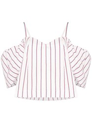 Rosie Assoulin Ra Ra Cold Shoulder Striped Cotton Top 60