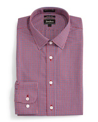 Neiman Marcus Trim Fit Non Iron Micro Houndstooth Dress Shirt Red Blue