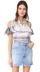 Sea Cold Shoulder Ruffle Shirt Plaid Multi