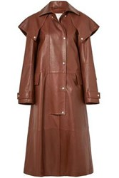 Calvin Klein 205W39nyc Cape Effect Leather Coat Brown