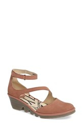 Fly London Women's Plan Pump Rose Nubuck Leather