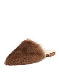 Jenni Kayne Flat Mink Fur Slide Mule Dark Brown