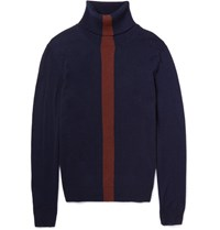 Paul Smith Striped Cashmere Rollneck Sweater Navy