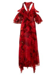 Alexander Mcqueen Poppy Print Ruffled Gown Red Print