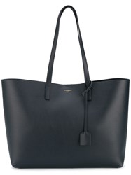 Saint Laurent Leather Shopper Tote Blue