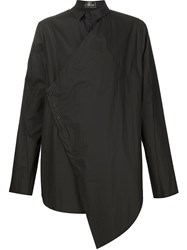 Lost And Found Diagonal Buttoning Shirt Black
