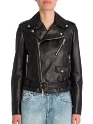 Valentino Rockstud Oversized Leather Biker Jacket Nero Rutenio