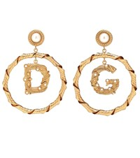 Dolce And Gabbana Embellished Clip On Hoop Earrings Gold