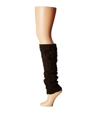 Steve Madden Pompom Cable Leg Warmer Chocolate Women's Knee High Socks Shoes Brown