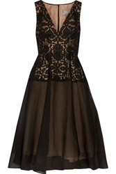 Lela Rose Guipure Lace Paneled And Silk Blend Cloque Midi Dress Black