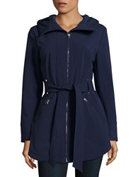 Jessica Simpson Water Resistant Hooded Raincoat Navy