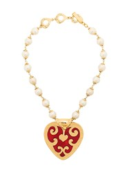 Yves Saint Laurent Vintage Lover Pearls Necklace Metallic