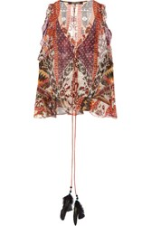 Roberto Cavalli Ruffled Printed Silk Blend Chiffon Top Brown