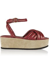 Isabel Marant Rowland Padded Leather And Suede Platform Sandals Claret