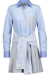 Derek Lam 10 Crosby Tie Front Flocked Cotton Paneled Cotton Poplin Mini Shirt Dress Sky Blue