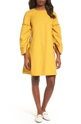 Halogen Parachute Sleeve Shift Dress Yellow Mineral