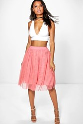 Boohoo Amara Knee Length Tulle Skirt Rose