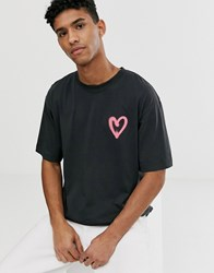 Cheap Monday Oversize T Shirt With Heart Print In Black