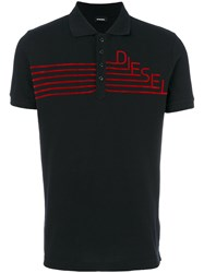 Diesel Logo Embroidered Polo Top Cotton Xl Black